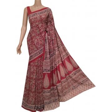 Red cotton Kalamkari saree with hand block print