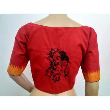 Red hand embroidered designer blouse (size 40, margin to increase to 44)