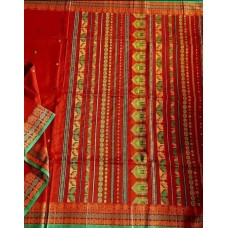 Red Dongria weave mercerized cotton saree