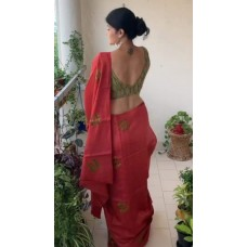 Red embroidered Tussar silk saree