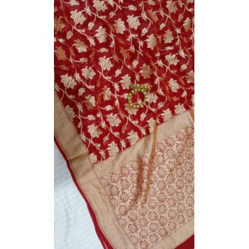 Red Banarasi georgette saree with gold floral jaal