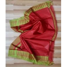 Red and green Kota viscose saree with temple border