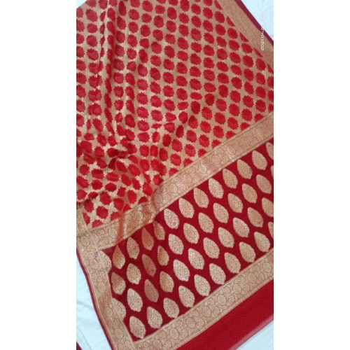 Red jaal Banarasi georgette saree