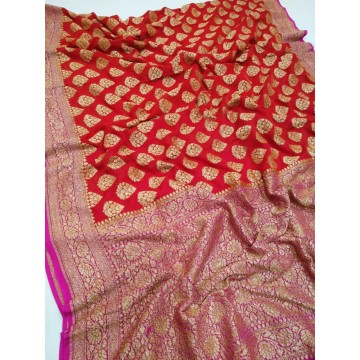 Red and magenta Khaddi Banarasi chiffon saree with antique gold zari