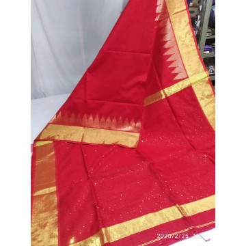 Red mercerized cotton-silk saree with sequins woven pallu