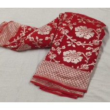Red Banarasi georgette saree with silver floral jaal
