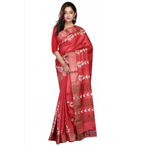 Red Tussar silk saree with hand painting