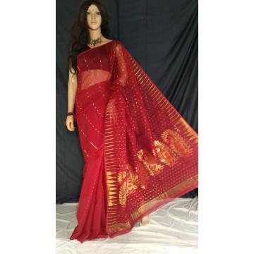 Red zari jamdani cotton silk saree