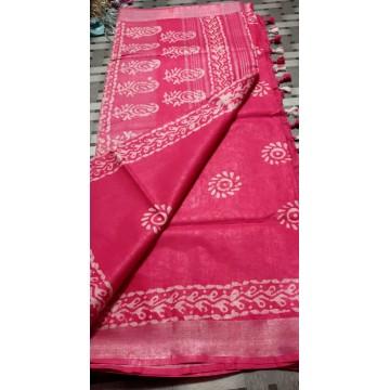 Rose pink cotton-viscose saree with Batik print - 1