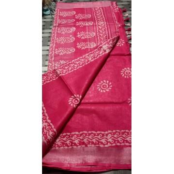 Rose pink cotton-viscose saree with Batik print - 2
