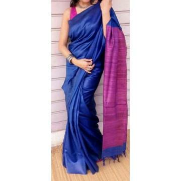 Royal blue Tussar silk saree with magenta Ghicha pallu
