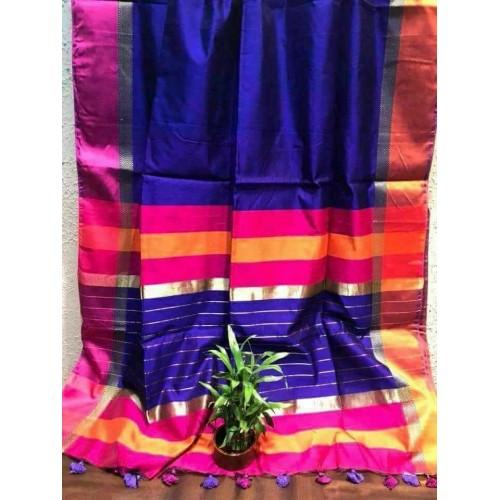 Royal blue silk-cotton saree with Ganga-Jamuna border