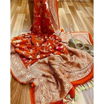 Rust minakari Banarasi georgette saree