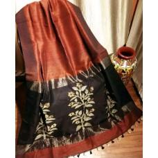 Rust linen-silk saree with jamdani pallu