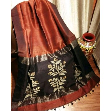 Rust linen-silk saree with jamdani pallu