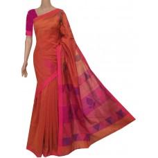 Rust sico Bengal handloom saree