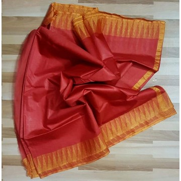 Red and yellow Kota viscose saree with temple border