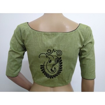 Sage green hand embroidered designer blouse (size 36, margin to increase to 40)