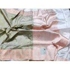 Sage green and cream Banarasi Katan silk saree