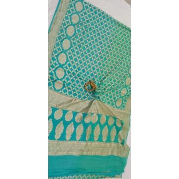 Shaded seagreen Banarasi georgette saree with gold zari