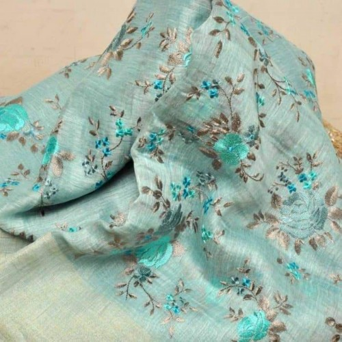 Seagreen linen-silk saree with floral embroidery
