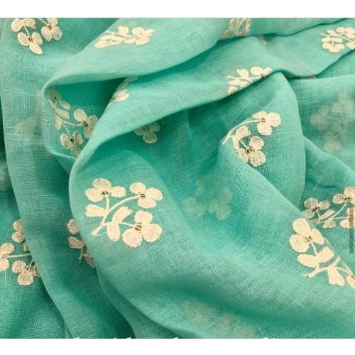 Seagreen linen-silk saree with floral embroidered motifs
