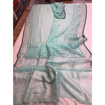 Seagreen linen mirrorwork saree