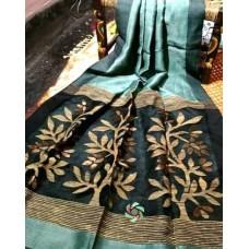 Seagreen linen-silk saree with jamdani pallu