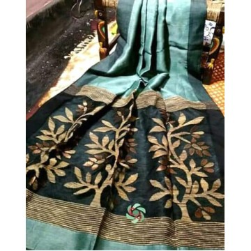 Seagreen linen-silk saree with jamdani pallu