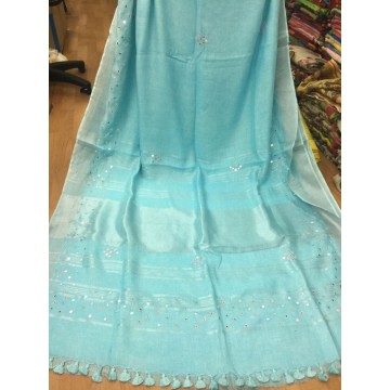 Seagreen linen saree with mirrorwork