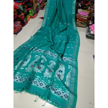 Seagreen organic linen saree with intricate weaving