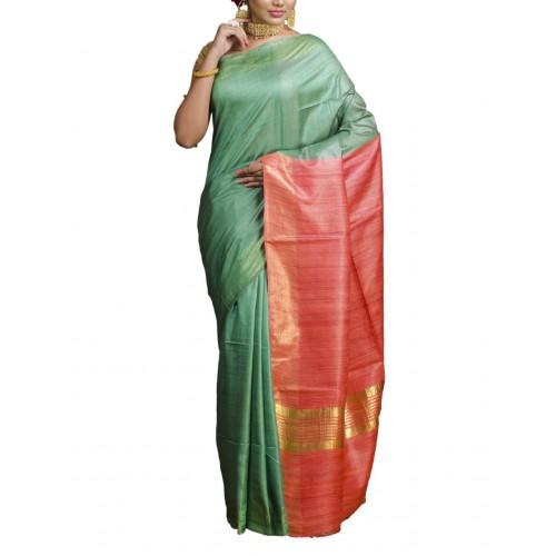 Seagreen Tussar silk saree with peach Ghicha pallu