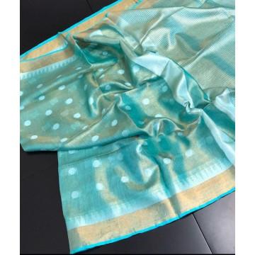 Seagreen polka motif tissue linen saree with temple border