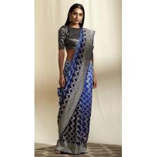 Blue Banarasi georgette-chiffon saree