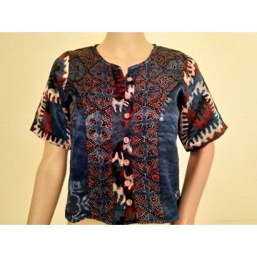 Indigo and red Ajrakh silk top