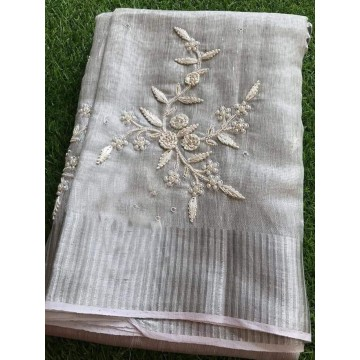 Silver tissue linen saree with pearl embroidery