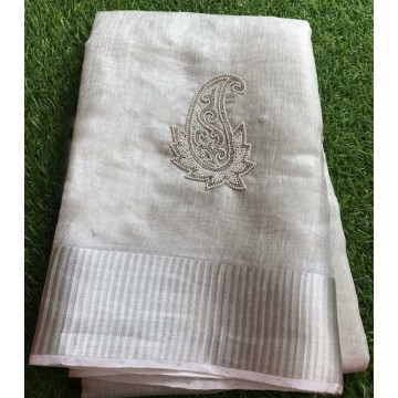 Silver tissue linen saree with paisley motif pearl embroidery