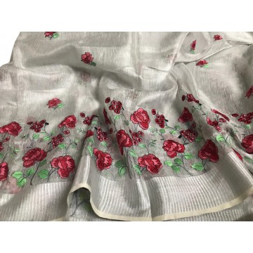 Silver tissue linen saree with red floral embroidery