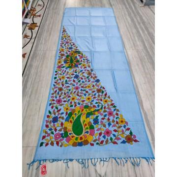 Sky blue silk-cotton saree with hand-painted Kalamkari applique - 2
