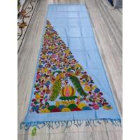 Sky blue silk-cotton saree with hand-painted Kalamkari applique - 1
