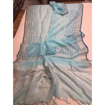 Sky blue linen mirrorwork saree