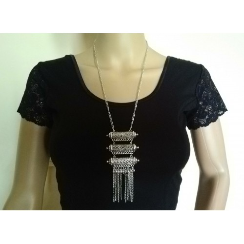 Silver tone tribal necklace - 4