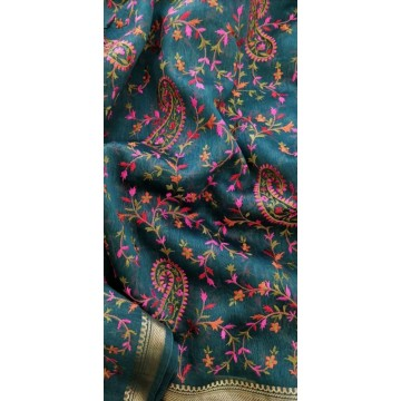 Teal linen-silk saree with Kashmiri embroidery