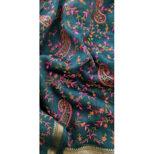 Teal linen-silk saree with Kashmiri embroidery