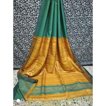 Teal Tussar silk saree with mustard yellow Ghicha pallu