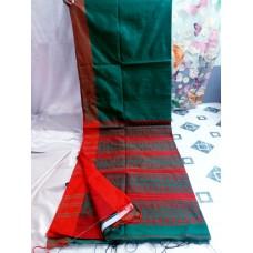 Teal Bihu silk-cotton saree