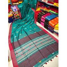 Teal tribal weaving Khadi cotton saree