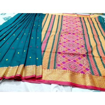 Teal Dongria weave mercerized cotton saree