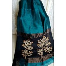 Teal linen-silk saree with jamdani pallu