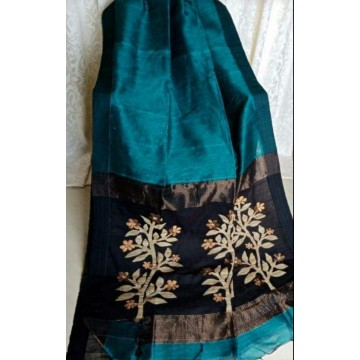 Teal linen-silk saree with jamdani pallu